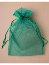 Large Green Organza Favour Bags - 12pk