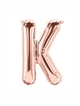 """16"""" Letter K Rose Gold Foil Balloon"""