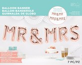 Rose Gold Mr / Mrs & Mr / Mrs Foil Letter Banner