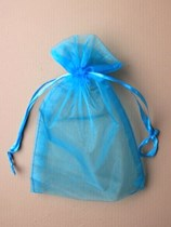 Large Turquoise Organza Favour Bags - 12pk