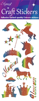 Eleganza Unicorn Rainbow Glitter Sticker Sheet