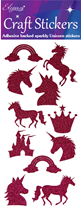 Eleganza Fuchsia Craft Glitter Unicorn Sticker Sheet