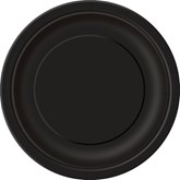 "Midnight Black 7"" Round Paper Plates 8pk"