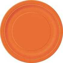 """Pumpkin Orange 9"""" Round Paper Plates 8pk"""
