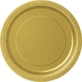 """Gold 7"""" Round Paper Plates 8pk"""