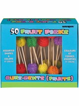 50 Tropical Fruit Picks - Assorted Colours