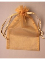 Large Dark Gold Organza Favour Bags - 12pk