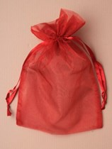 Large Burgundy Organza Favour Bags - 12pk