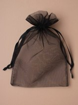 Large Black Organza Favour Bags - 12pk