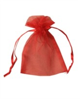 Small Red Organza Favour Bags - 12pk