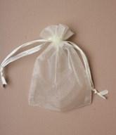 Medium Ivory Organza Favour Bags - 12pk