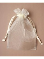 Large Ivory Organza Favour Bags - 12pk