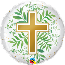 "Golden Cross With Greenery 18"" Foil Balloon"