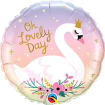"""Oh Lovely Day Swan 18"""" Foil Balloon"""