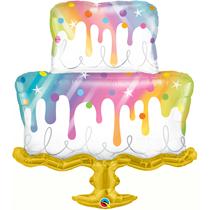 "Large Rainbow Drip Cake 39"" Foil Balloon"