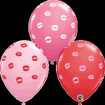 "Kissy Lips Red & Pink 11"" Latex Balloons 6pk"
