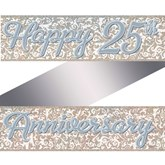 Silver 25th Anniversary Holographic Foil Banner