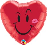 "Naughty Smile & A Kiss Red 18"" Heart Foil Balloon"