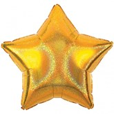 """Gold Sparkle 19"""" Star Shaped Foil Balloon"""