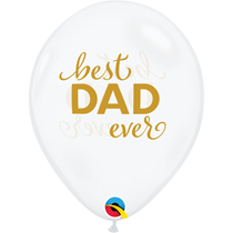 """Father's Day Best Dad Diamond Clear 11"""" Latex Balloons 25pk"""