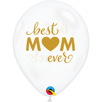 "Mother's Day Best Mum 11"" Diamond Clear Balloons 25pk"