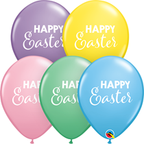 "Happy Easter Pastel Assortment 11"" Latex Balloons 25pk"