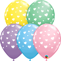 "Pastel Assorted Hearts Print 11"" Latex Balloons 25pk"