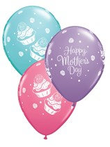 "Mother's Day Cupcake Asst. 11"" Latex Balloons 25pk"