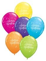 "11"" Tropical Asst. Happy Birthday Balloons 50pk"