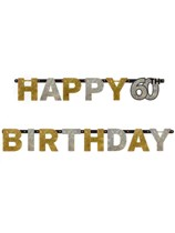 Gold Celebration Happy 60th Birthday Letter Banner