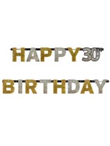 Gold Celebration Happy 30th Birthday Letter Banner