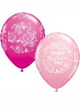 "Happy Mother's Day Floral Damask Pink Assorted 11"" Latex Balloons 25pk"
