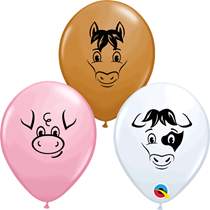 "Asst. Colour 5"" Farm Animals Latex Balloons 100pk"
