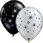 Sparkles and Swirls Black & Silver Latex Balloons 50pk