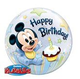1st Birthday Baby Mickey Bubble Balloon 22""