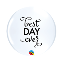 """Best Day Ever Top Print 11"""" White Latex Balloons 25pk"""