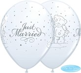 "Tatty Teddy Just Married White 11"" Latex Balloons 25pk"