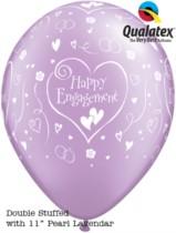 "11"" Engagement Hearts Diamond Clear Balloons 50pk"