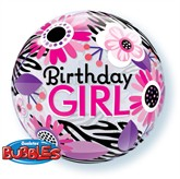 Birthday Girl Floral Zebra Stripes Bubble Balloon 22""