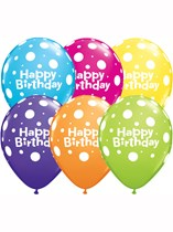 "11"" Happy Birthday Polka Dot Latex Balloons Tropical Assortment - 50pk"
