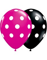 "Black & Magenta Polka Dot 11"" Latex Balloons 25pk"