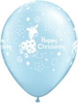 Light Blue Happy Christening Pearl Latex Balloons 25pk