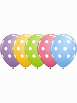 "Asst'd Colour Polka Dot 11"" Latex Balloons 25pk"