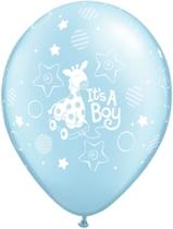 "Pearl Light Blue It's A Boy Giraffe 11"" Latex Balloons 25pk"
