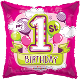 """Pink 1st Birthday Square 18"""" Foil Balloon"""