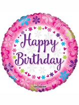 "Happy Birthday Pink Flowers 18"" Foil Balloon"