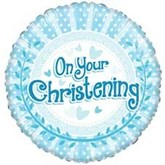 "On Your Christening Blue 18"" Foil Balloon"