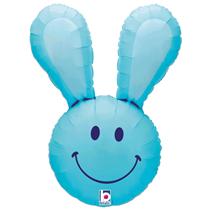 "Smiley Easter Bunny Head 37"" Blue Foil Balloon"