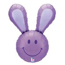 "Smiley Easter Bunny Head 37"" Lavender Foil Balloon"
