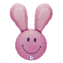 "Smiley Easter Bunny Head 37"" Pink Foil Balloon"